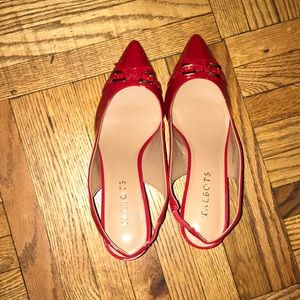 NWT red patent leather Talbots sling back heels